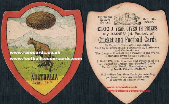 1900 Australia rugby card by Baines